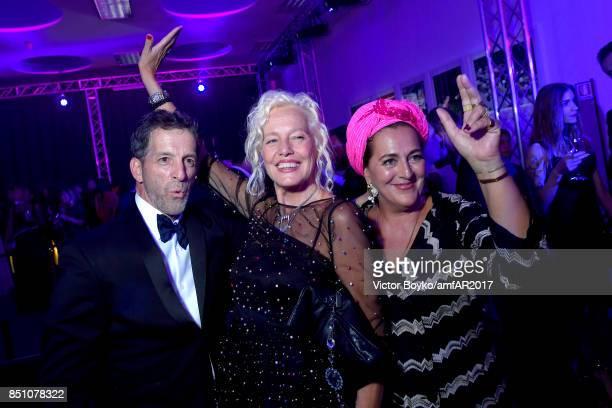 Kenneth Cole Ellen von Unwerth and Angela Missone attend amfAR Gala Milano on September 21 2017 in Milan Italy