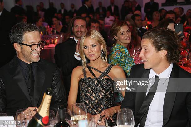 Kenneth Cole Heidi Klum and Vito Schnabel are seen at amfAR Milano 2015 at La Permanente on September 26 2015 in Milan Italy