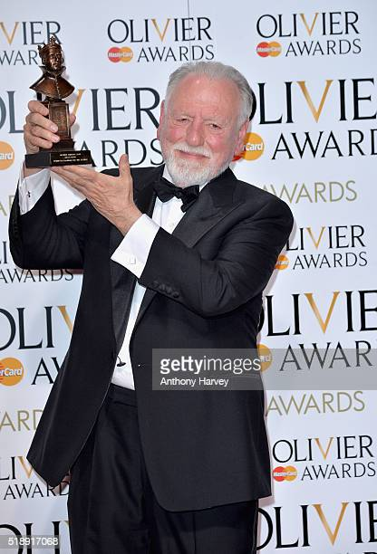 Kenneth Cranham winner of the Best Actor award for 'The Father' poses in the winners room at The Olivier Awards at The Royal Opera House on April 3...