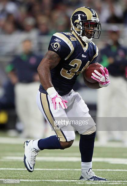 Kenneth Darby of the St Louis Rams carries the ball in the second half against the Seattle Seahawks on October 3 2010 at Edward Jones Dome in St...