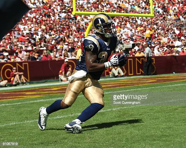Kenneth Darby of the St Louis Rams returns a kick against the Washington Redskins at FedEx Field on September 20 2009 in Landover Maryland