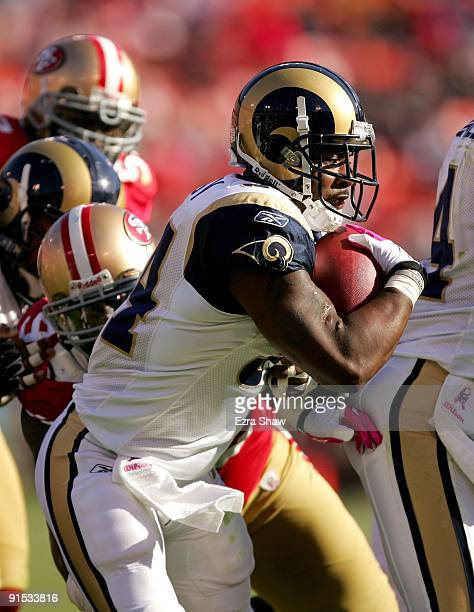 Kenneth Darby of the St Louis Rams runs with the ball during their game against the San Francisco 49ers at Candlestick Park on October 4 2009 in San...