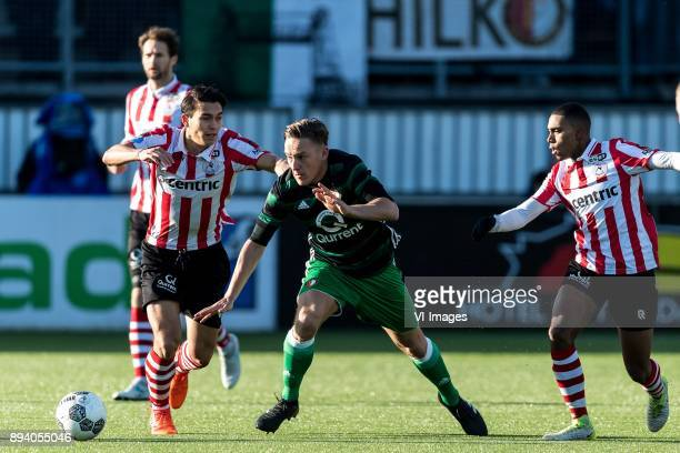 Kenneth Dougall of Sparta Rotterdam Jens Toornstra of Feyenoord Deroy Duarte of Sparta Rotterdam during the Dutch Eredivisie match between Sparta...
