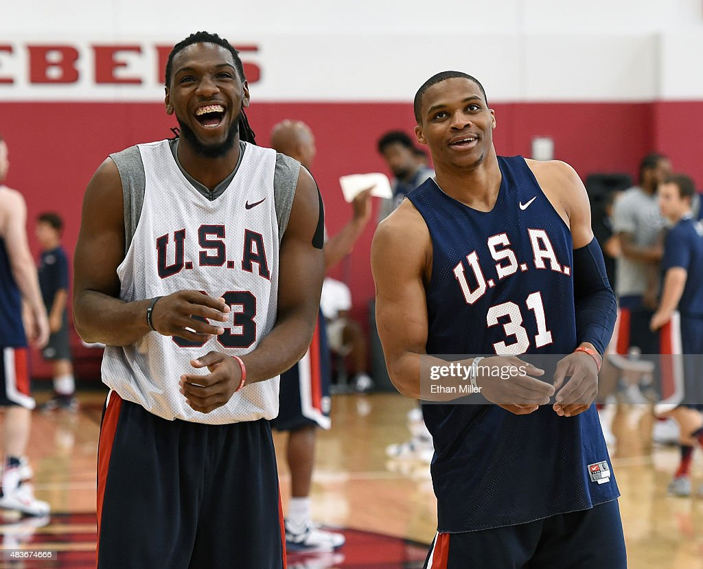 Kenneth Faried #33 and Russell Westbrook #31 of the 2015 USA Basketball Men's National Team share a laugh during a practice session at the Mendenhall Center on August 11, 2015 in Las Vegas, Nevada.