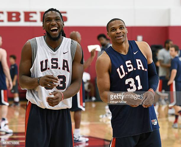 Kenneth Faried and Russell Westbrook of the 2015 USA Basketball Men's National Team share a laugh during a practice session at the Mendenhall Center...