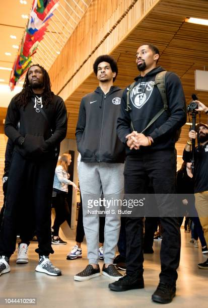 Kenneth Faried Jarrett Allen and Spencer Dinwiddie of the Brooklyn Nets visit the 9/11 Memorial in New York City New York NOTE TO USER User expressly...