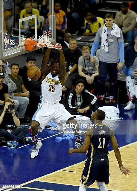 Kenneth Faried of Denver Nuggets in action during the NBA match between Denver Nuggets vs Indiana Pacers at the O2 arena in London United Kingdom on...