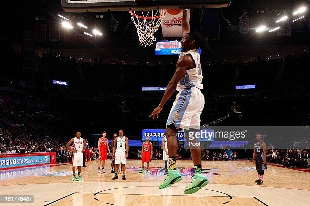 Kenneth Faried of the Denver Nuggets and Team Chuck dunks the ball in the second half in the BBVA Rising Stars Challenge 2013 part of the 2013 NBA...