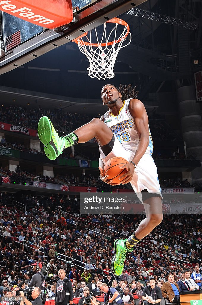 Kenneth Faried #35 of the Denver Nuggets attempts a dunk during the 2013 Sprite Slam Dunk Contest on State Farm All-Star Saturday Night as part of 2013 NBA All-Star Weekend on February 16, 2013 at Toyota Center in Houston, Texas.