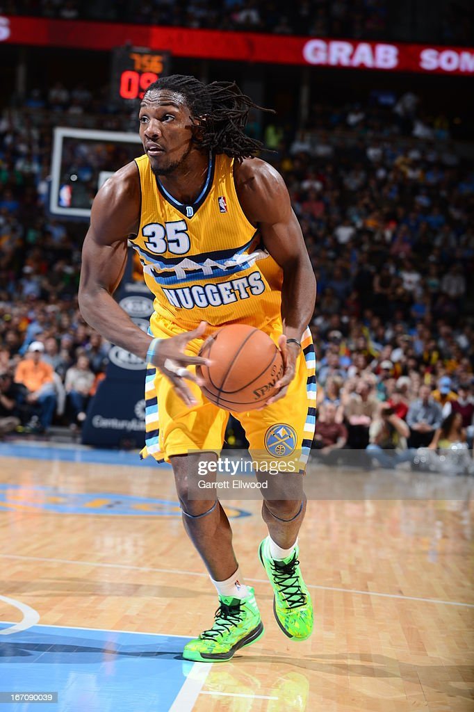 Kenneth Faried #35 of the Denver Nuggets dribbles the ball to the rack against the Houston Rockets on April 6, 2013 at the Pepsi Center in Denver, Colorado.