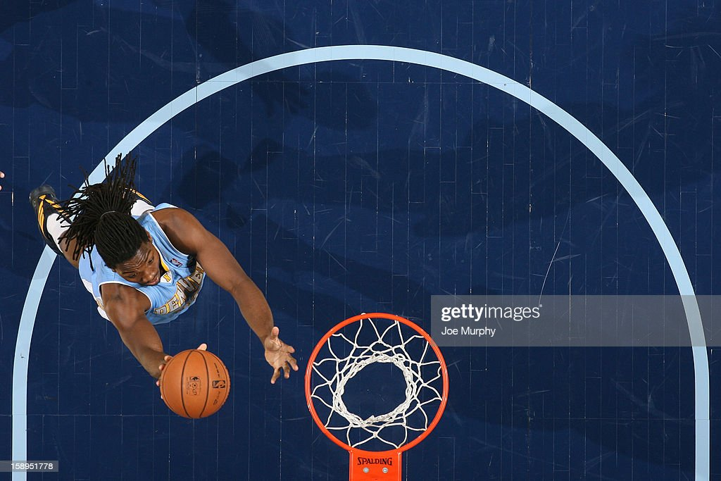 Kenneth Faried #35 of the Denver Nuggets drives to the basket against the Memphis Grizzlies on December 29, 2012 at FedExForum in Memphis, Tennessee.