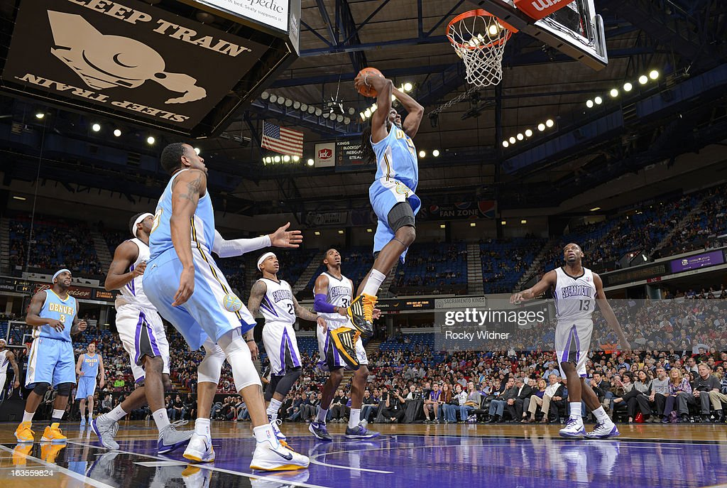 Kenneth Faried #35 of the Denver Nuggets dunks against the Sacramento Kings on March 5, 2013 at Sleep Train Arena in Sacramento, California.