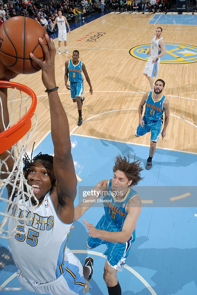 Kenneth Faried #35 of the Denver Nuggets dunks the ball against the New Orleans Hornets on February 1, 2013 at the Pepsi Center in Denver, Colorado.