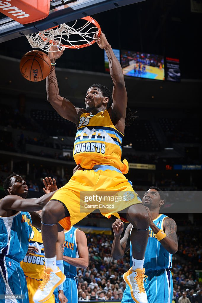 Kenneth Faried #35 of the Denver Nuggets dunks the ball during the game between the New Orleans Hornets and the Denver Nuggets on November 25, 2012 at the Pepsi Center in Denver, Colorado.