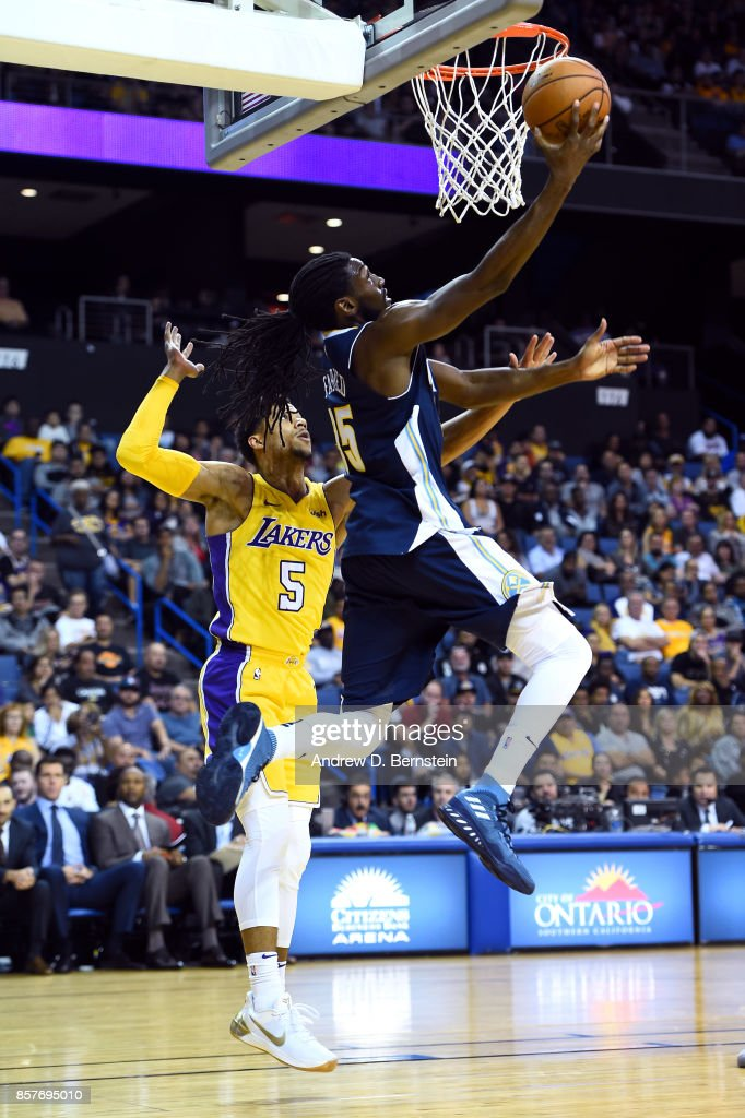 Kenneth Faried #35 of the Denver Nuggets goes to the basket against the Los Angeles Lakers on October 4, 2017 at Citizens Business Bank Arena in Los Angeles, California.