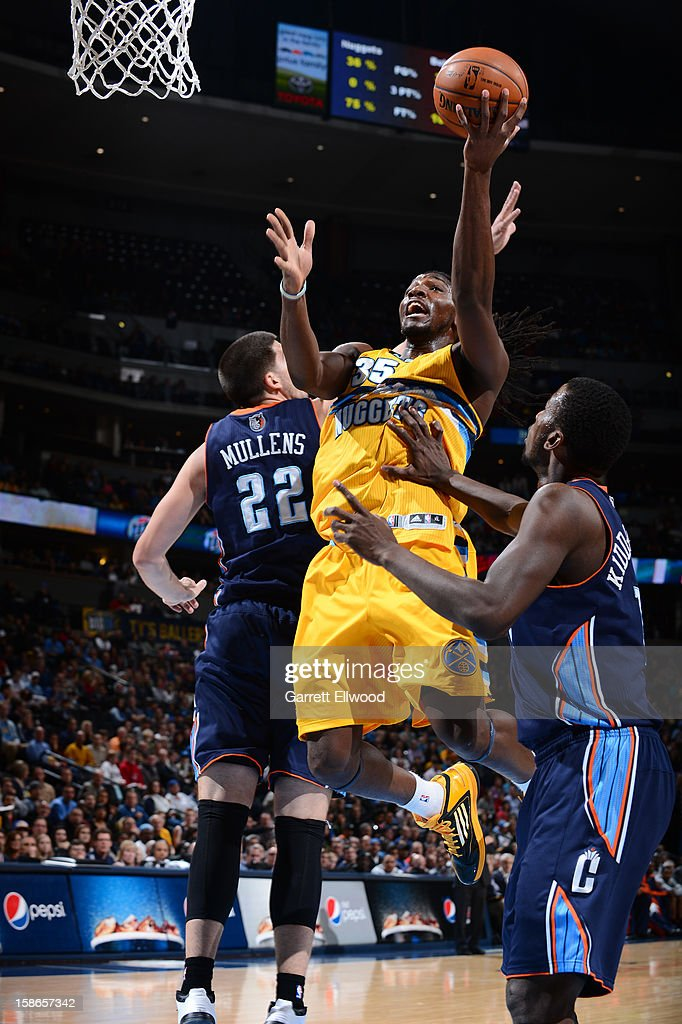 Kenneth Faried #35 of the Denver Nuggets goes to the basket during the game between the Charlotte Bobcats and the Denver Nuggets on December 22, 2012 at the Pepsi Center in Denver, Colorado.