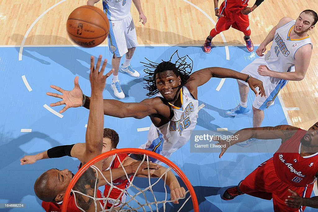 Kenneth Faried #35 of the Denver Nuggets goes up for a rebound against the Los Angeles Clippers on March 7, 2013 at the Pepsi Center in Denver, Colorado.