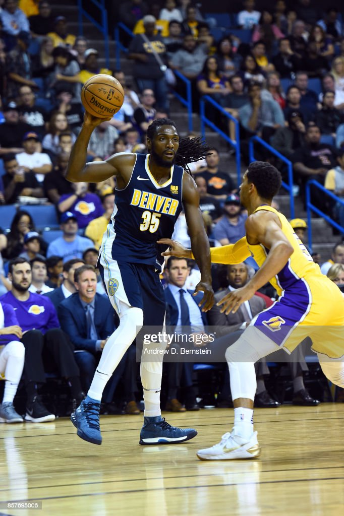 Kenneth Faried #35 of the Denver Nuggets handles the ball against the Los Angeles Lakers on October 4, 2017 at Citizens Business Bank Arena in Los Angeles, California.