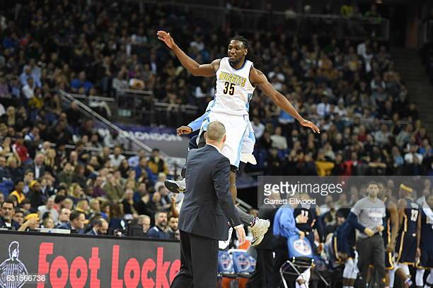 Kenneth Faried of the Denver Nuggets jumps against the Indiana Pacers as part of 2017 NBA London Global Games at the O2 Arena on January 12 2017 in...