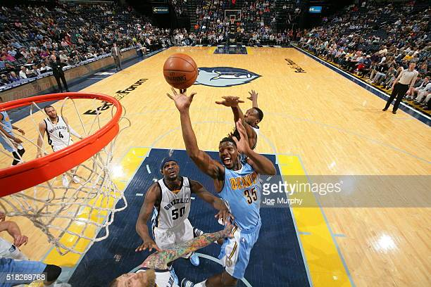 Kenneth Faried of the Denver Nuggets shoots the ball against the Memphis Grizzlies on March 30 2016 at FedExForum in Memphis Tennessee NOTE TO USER...