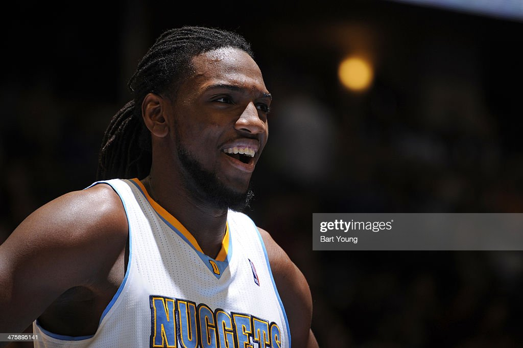 Kenneth Faried #35 of the Denver Nuggets stands on the court at a game against the Cleveland Cavaliers on January 17, 2014 at the Pepsi Center in Denver, Colorado.