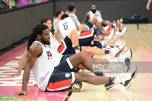 Kenneth Faried of the USA Basketball Men's National Team stretches during practice at Palau Sant Jordi on September 10 2014 in Barcelona Spain NOTE...