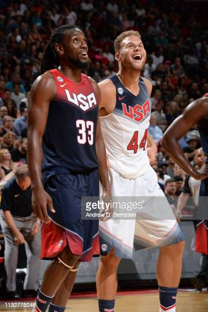 Kenneth Faried of the USA Blue Team and Blake Griffin of the USA White Team smiles during Team USA Basketball Showcase at the Thomas Mack Center on...