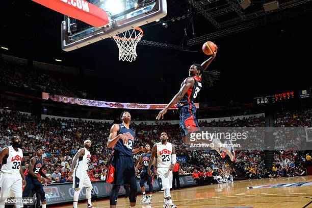 Kenneth Faried of the USA Blue Team attempts a dunk during the USA Basketball Showcase at the Thomas Mack Center at the University of Nevada Las...