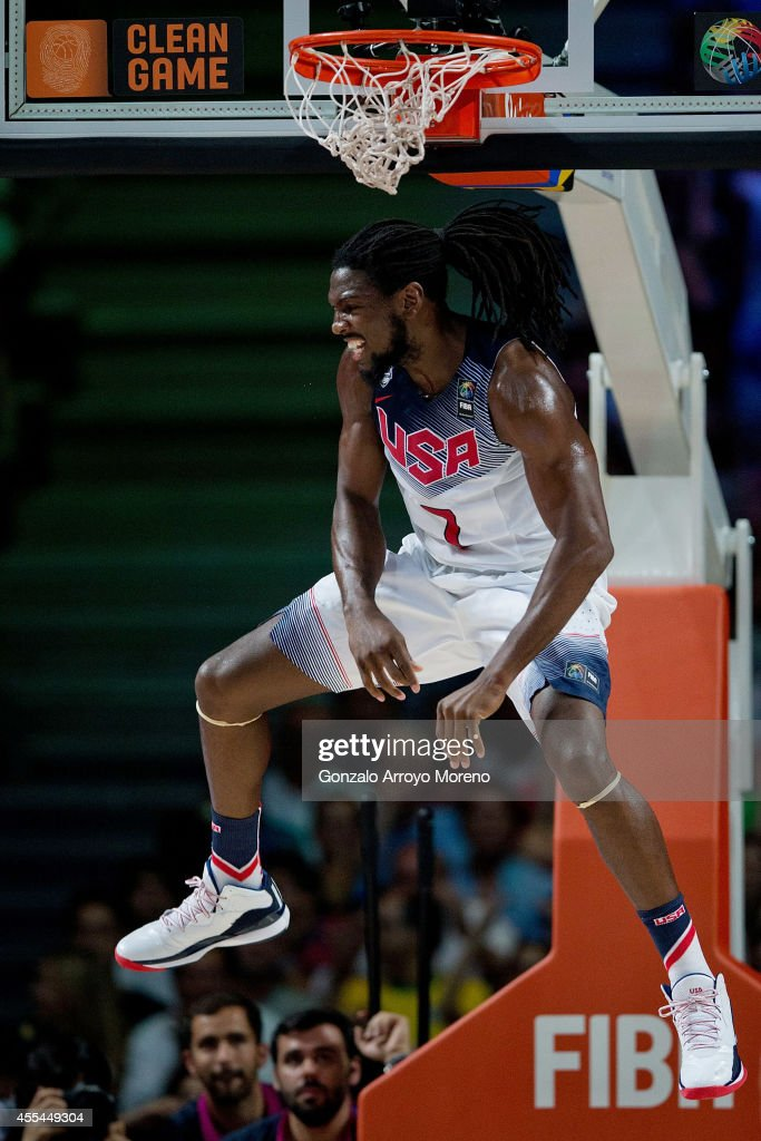 Kenneth Faried of the USA celebrates after a dunk during the 2014 FIBA World Basketball Championship final match between USA and Serbia at Palacio de los Deportes on September 14, 2014 in Madrid, Spain.