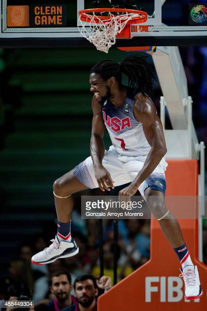 Kenneth Faried of the USA celebrates after a dunk during the 2014 FIBA World Basketball Championship final match between USA and Serbia at Palacio de...