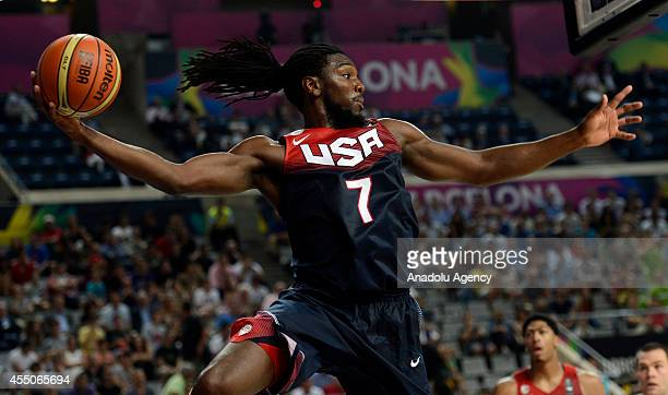 Kenneth Faried of USA in action during the 2014 FIBA Basketball World Cup quarter final match between Slovenia and USA at the Palau Sant Jordi in...