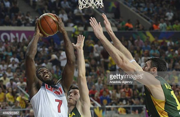 Kenneth Faried of USA is in action against Ksistof Lavrinovic of Lithuania during 2014 FIBA World Basketball Championship SemiFinal basketball match...