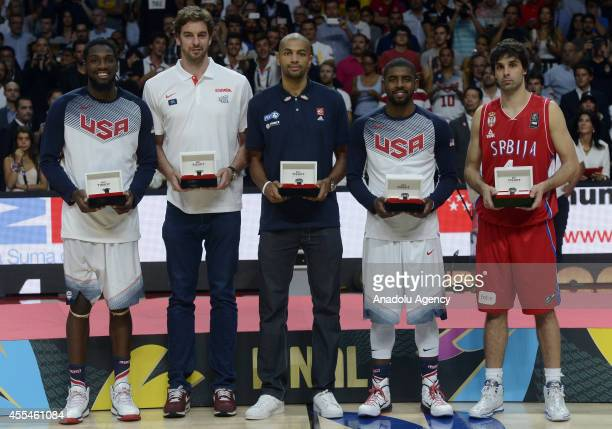 Kenneth Faried of USA Pau Gasol of Spain Nicolas Batum of France Kyrie Irving of USA and Milos Teodosic of Serbia are named the AllTournament team of...
