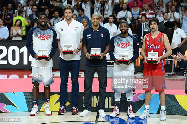 Kenneth Faried, Pau Gasol, Nicolas Batum, Kyrie Irving and Milos Teodosic was named the All-Tournament team of the 2014 FIBA World Cup Finals at...