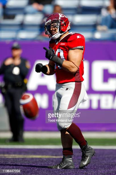 Kenneth Farrow, II of San Antonio Commanders celebrates his rushing touchdown against the Atlanta Legends during the first half in the Alliance of...