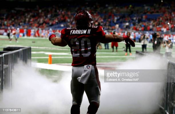 Kenneth Farrow, II of San Antonio Commanders takes the field during player introductions before the start of the Alliance of American Football game...