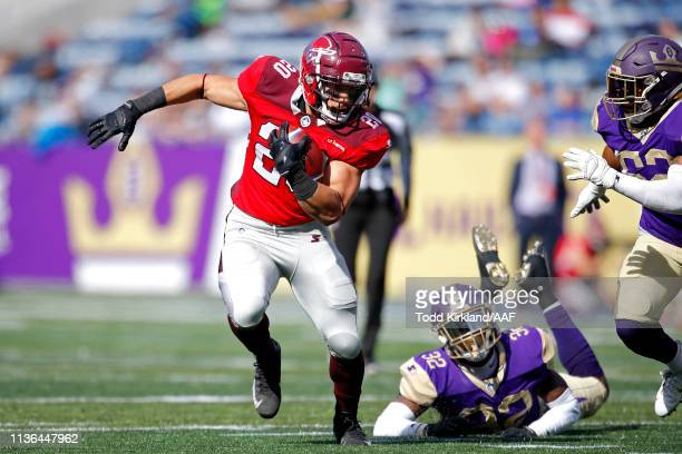 Kenneth Farrow II of the San Antonio Commanders runs the ball against the Atlanta Legends during the first half in the Alliance of American Football...