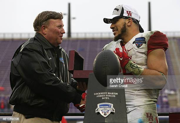 Kenneth Farrow of the Houston Cougars accepts the MVP award after defeating the Pittsburgh Panthers during the Lockheed Martin Armed Forces Bowl game...