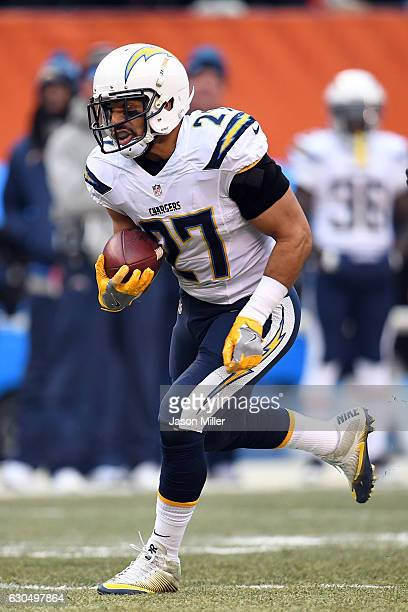 Kenneth Farrow of the San Diego Chargers rushes against the Cleveland Browns at FirstEnergy Stadium on December 24, 2016 in Cleveland, Ohio.