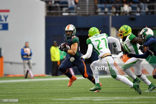 Kenneth Farrow of the Seattle Dragons carries the ball against the Tampa Bay Vipers at CenturyLink Field on February 15, 2020 in Seattle, Washington.