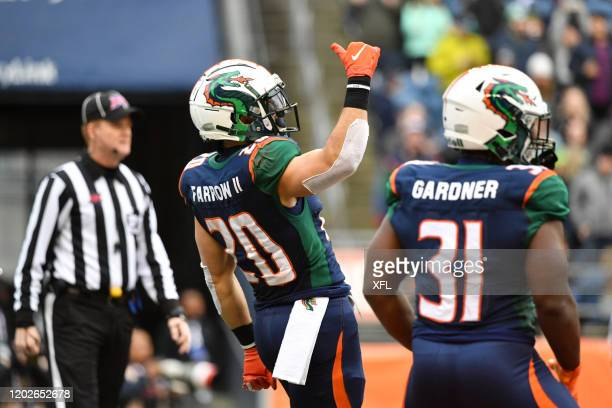 Kenneth Farrow of the Seattle Dragons celebrates after a touchdown during the XFL game against the Dallas Renegades at CenturyLink Field on February...