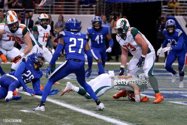 Kenneth Farrow of the Seattle Dragons crossing the end zone to score a touchdown against the St. Louis BattleHawks during the XFL game at The Dome at...