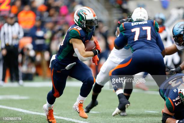 Kenneth Farrow of the Seattle Dragons during action against the Dallas Renegades during the XFL game at CenturyLink Field on February 22, 2020 in...
