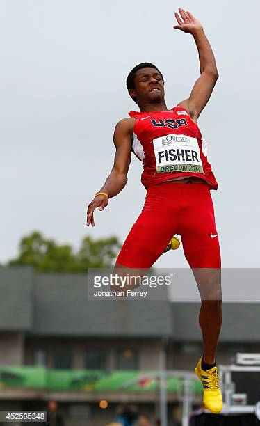 Kenneth Fisher of USA competes in the men's long jump during day two of the IAAF World Junior Championships at Hayward Field on July 23 2014 in...