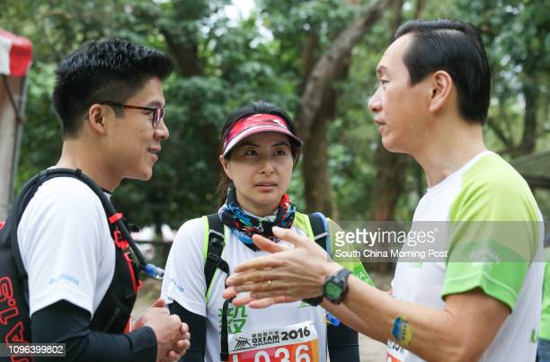 Kenneth Fok Kai-kong, Guo JingJing, and Bernard Charnwut Chan attend OXFAM Trailwalker 2016 in Sai Kung. 18NOV16 SCMP/Dickson Lee