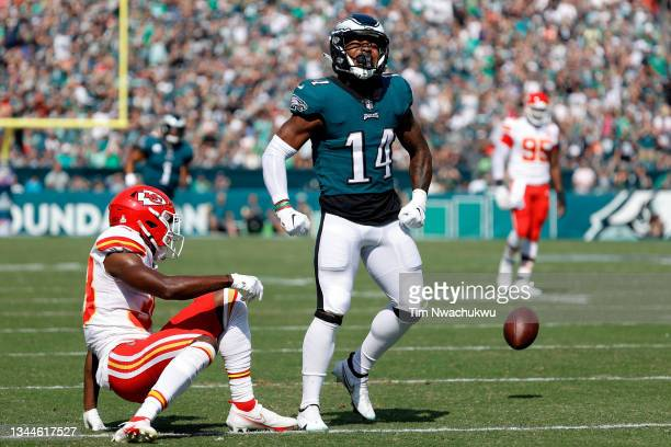 Kenneth Gainwell of the Philadelphia Eagles celebrates after a play during the first quarter against the Kansas City Chiefs at Lincoln Financial...