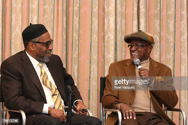 Kenneth Gamble and Billy Paul speak at the PreGRAMMY Party at the Four Seasons Hotel on February 6 2008 in Beverly Hills California