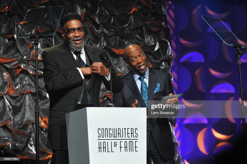 Kenneth Gamble and Leon Huff speak onstage at the Songwriters Hall of Fame 45th Annual Induction and Awards at Marriott Marquis Theater on June 12, 2014 in New York City.