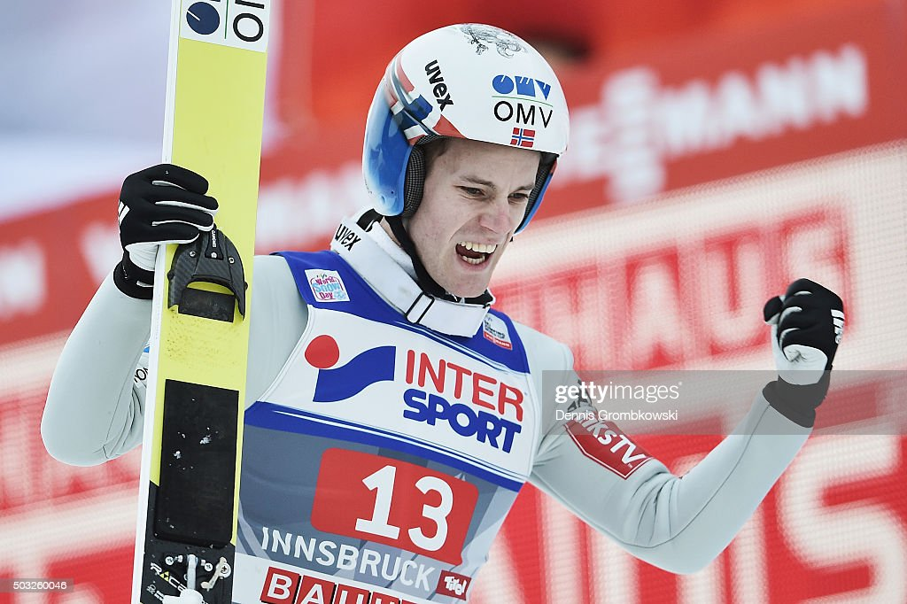 Kenneth Gangnes of Norway celebrates after finishing third in the Innsbruck 64th Four Hills Tournament ski jumping event on January 3, 2016 in Innsbruck, Austria.