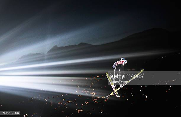 Kenneth Gangnes of Norway soars through the air during his training jump on Day 1 of the 64th Four Hills Tournament ski jumping event on December 28...